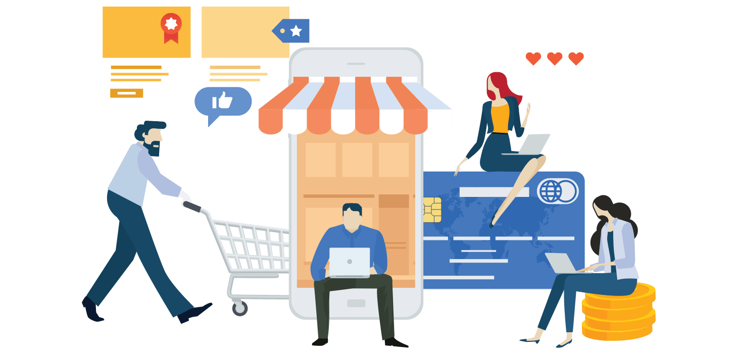 Illustration of e-commerce activities
