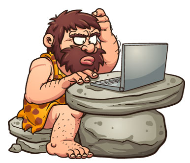 caveman working on a computer
