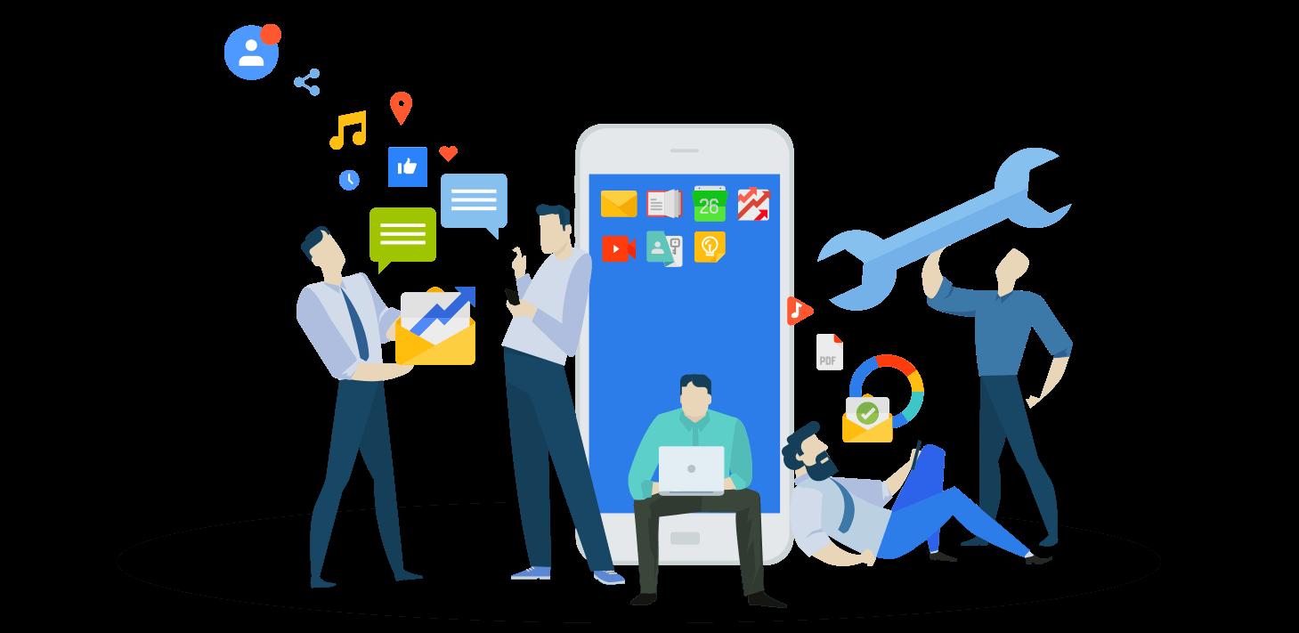 Illustration of mobile web developers